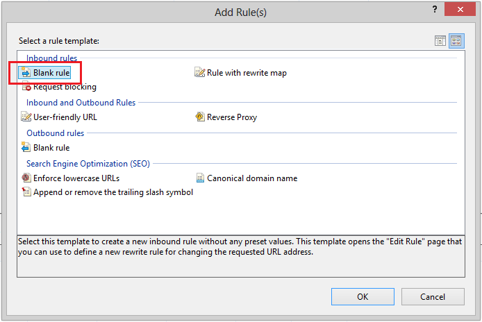 Connect to Sharepoint Add new Rule