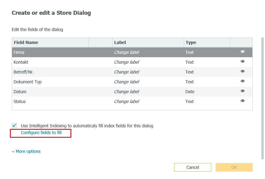 Configure fields to fill