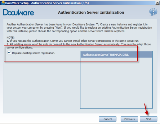 Install Authentication Server - replace option